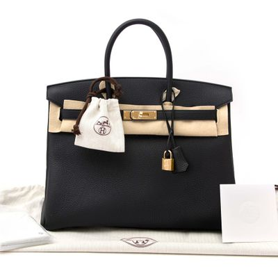 Hermes Birkin Bag 35 Togo Black Women's Handbag