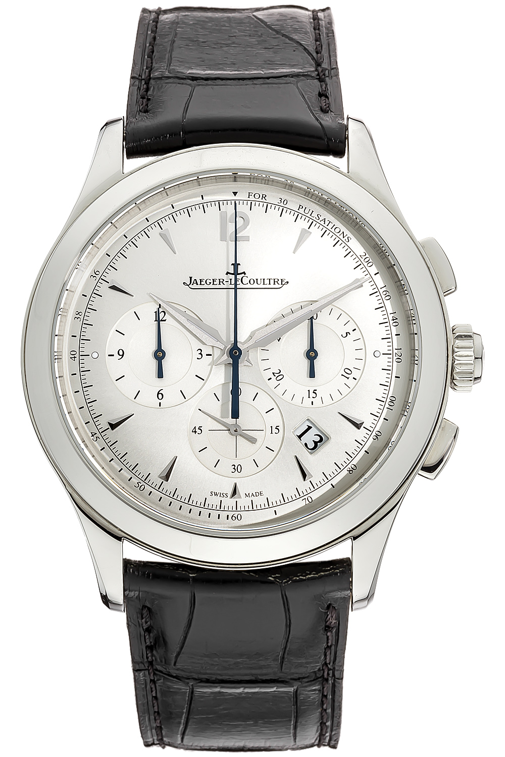 q1538420 jlc master chronograph mens automatic watch silver dial steel case free overnight shipping