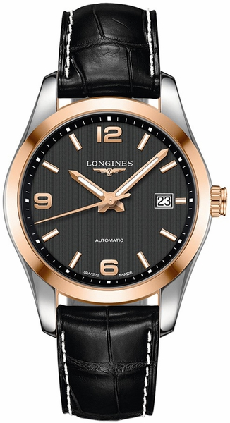 Longines Conquest Classic Black Dial & Solid Rose Gold Men's Watch L2.785.5.56.3