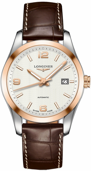 Longines Conquest Classic Solid Rose Gold & Silver Dial Men's Watch L2.785.5.76.3