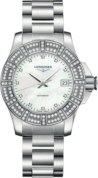 Longines Conquest White Pearl Dial & Diamond Women's Watch L3.180.0.87.6