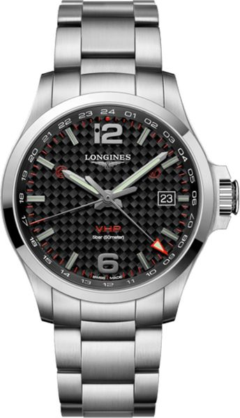 Longines Conquest V.H.P. GMT Black Carbon Men's Watch L3.728.4.66.6