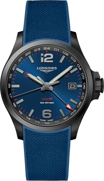 Longines Conquest V.H.P. GMT Blue Strap Men's Watch L3.728.2.96.9