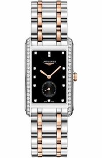 Longines DolceVita Black Dial Two-tone Diamond Men's Watch L5.755.5.59.7