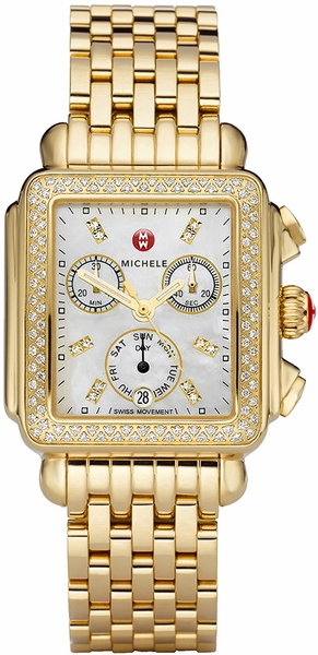 Michele Deco Pearl Gold Diamonds Women's Watch MWW06P000100