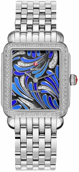 Michele Deco II Peacock Patterned Blue & Diamond Dial Ladies Watch MWW06X000031