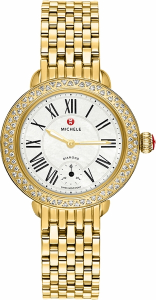 Michele Serein 12 Pearl White Dial & Gold Ladies Watch MWW21E000013