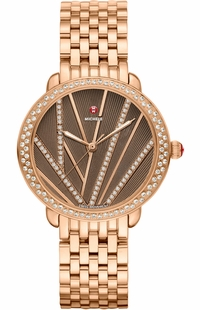 Michele Serein Mid Cocoa Brown & Diamond Dial Ladies Fashion Luxury Watch MWW21B000113