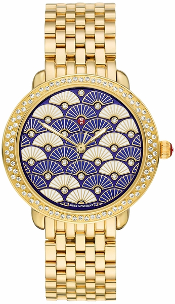 Michele Serein Mid Fan Patterned White & Blue Diamond Dial Ladies Fashion Watch MWW21B000102
