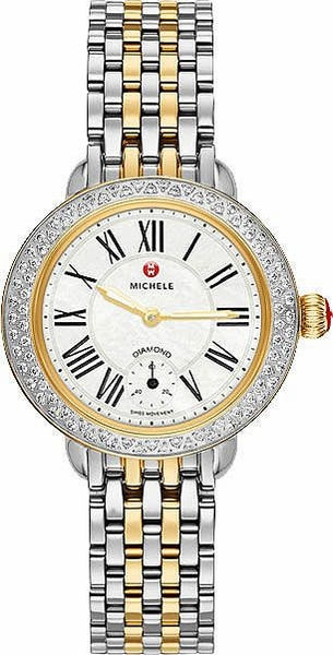 Michele Serein 12 Pearl White Dial Yellow Gold & Diamond Ladies Watch MWW21E000007