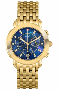 Michele Sidney Gold Diamond Blue Dial Women's Watch MWW30A000049