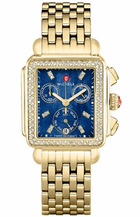 Michele Signature Deco Gold Diamond Women's Watch MWW06P000288