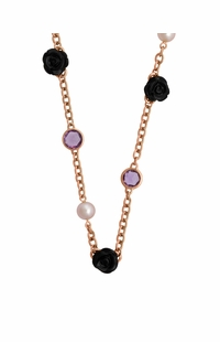 Mimi Milano 18k Rose Gold Black Agate Amethyst Pearl Necklace C191R3OA