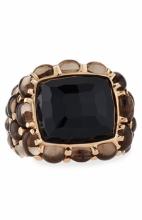 Mimi Milano 18k Rose Gold Black Agate Quartz Ring A151RO8F-83
