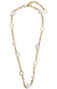 Mimi Milano 18k Rose Gold White Agate Crystal Pearl Necklace C191R1A1J
