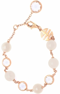 Mimi Milano Rock Crystal & Pearl Bracelet on 18k Rose Gold B171R1J