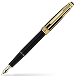 MontBlanc Meisterstuck Solitaire Doue Gold & Black Fountain Pen 35986