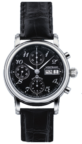 0180e6ed861 8451 MontBlanc Star Black Automatic Chronograph Dial Mens Watch.