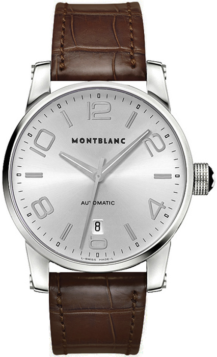 7508c1af092 9675 MontBlanc Timewalker Automatic Brown Leather Strap Mena Watches.