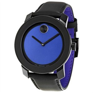 3600052 Movado Blue Dial Pvd Steel Case Black Leather