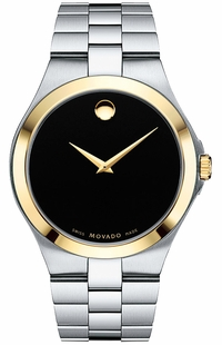 Movado Collection Series Men's Black Dial Gold Sapphire Watch 0606909
