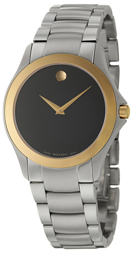 0605871 Movado Military Black Dial Mens Gold Steel Watch