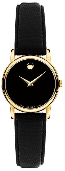Movado Museum Black Dial & Yellow Gold Women's Watch 2100006