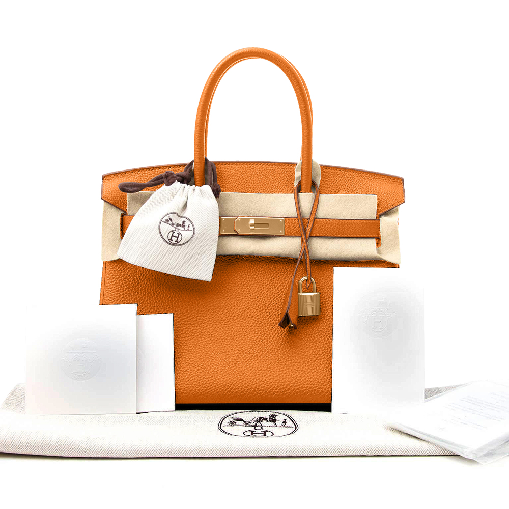 New Hermes Birkin Bag Togo Orange 30cm Women's Handbag