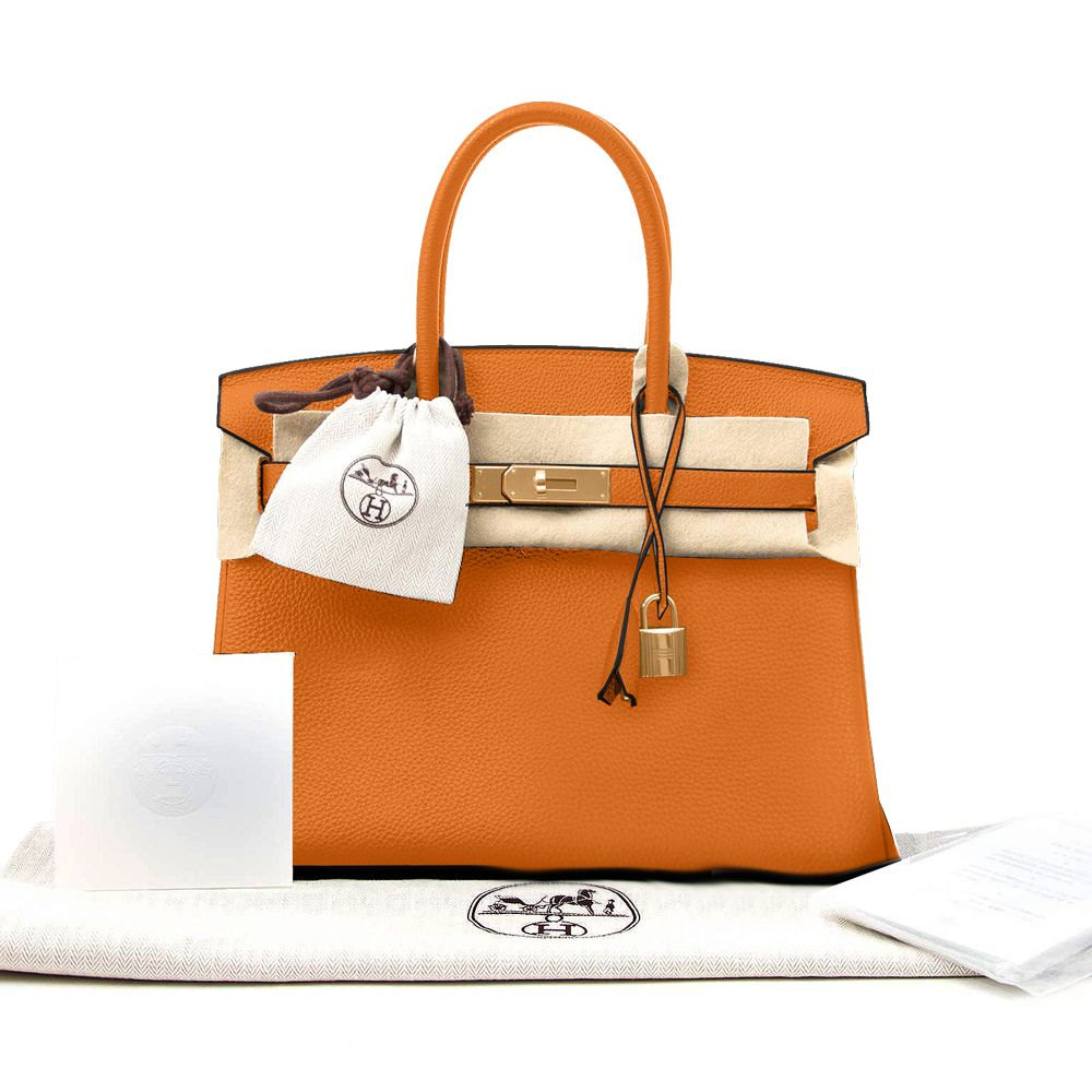 6d4f25d464805 New Hermes Birkin Bag Togo Orange 30 Women s Handbag - image 0 ...
