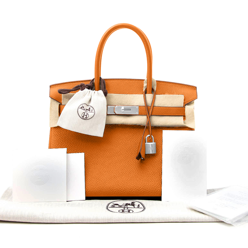 New Women's Orange Hermes Birkin Bag Togo 30cm