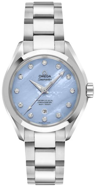 Omega Seamaster Aqua Terra Pearl Blue & Diamond Dial Women's Watch 231.10.34.20.57.002