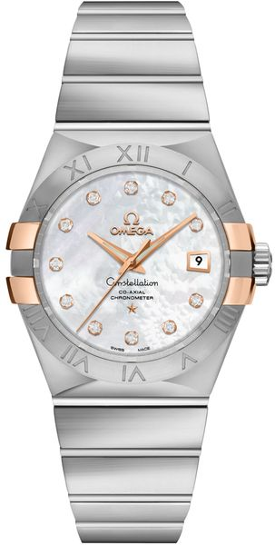 Omega Constellation Pearl White & Diamond Dial Ladies Luxury Watch 123.20.31.20.55.003