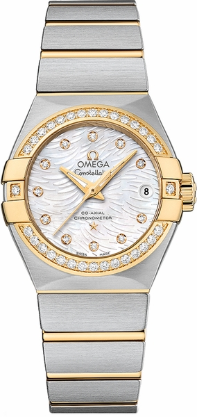 Omega Constellation Solid 18k Yellow Gold & Steel Women's Watch 123.25.27.20.55.007