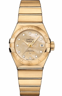 Omega Constellation Solid 18k Gold Luxury Women's Watch 123.50.27.20.57.002