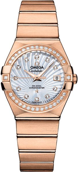 Omega Constellation Solid 18k Rose Gold Women's Watch 123.55.27.20.55.001