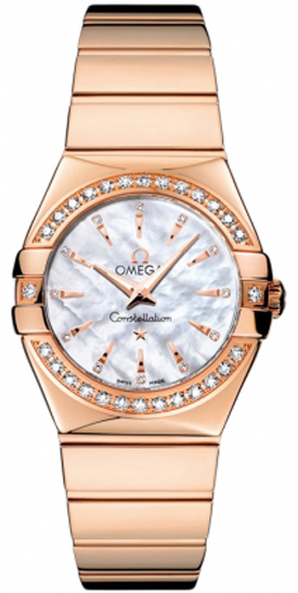 Omega Constellation Rose Gold Diamond Women's Watch 123.55.27.60.55.006