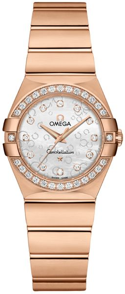 Omega Constellation Solid Rose Gold & Diamond Ladies Watch 123.55.27.60.55.015