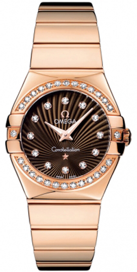 Omega Constellation Brown Dial 18k Rose Gold Luxury Watch 123.55.27.60.63.002