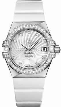 Omega Constellation Solid 18k White Gold Women's Watch 123.57.35.20.55.005