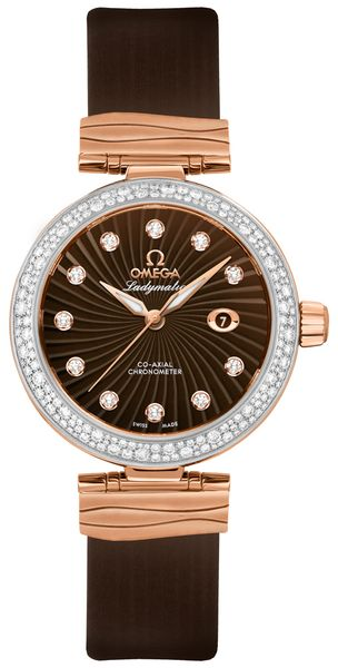 Omega De Ville Ladymatic Brown Dial & Diamonds Ladies Luxury Watch 425.27.34.20.63.001