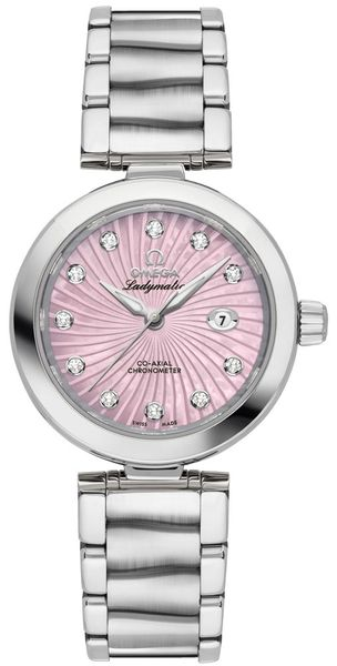 Omega De Ville Ladymatic Pearl Pink & Diamond Dial Ladies Watch 425.30.34.20.57.001