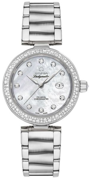 Omega De Ville Ladymatic Pearl White & Diamond Dial Stainless Ladies Watch 425.35.34.20.55.002