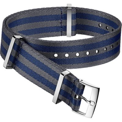 Omega 21mm Blue & Grey Polyamide Nato OEM Watch Strap 031CWZ007888