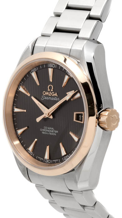 23120392106003 Omega Seamaster Aqua Terra Mens Automatic Gold Stainless Steel Bracelet Watch