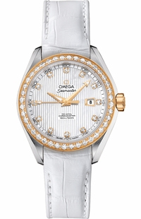 Omega Seamaster Aqua Terra Co-Axial Diamond and White Pearl Women's Watch 231.28.34.20.55.001
