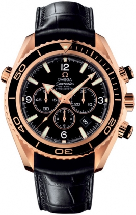 222 63 46 50 01 001 Omega Seamaster Planet Ocean Solid Rose Gold Mens Chronograph Watch