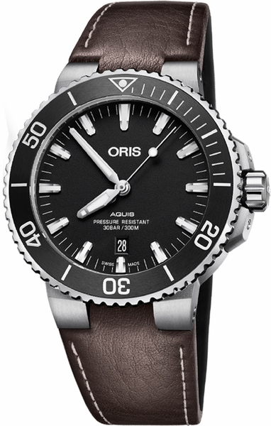 Oris Aquis Date Black Dial Brown Strap Men's Watch 73377304124LS