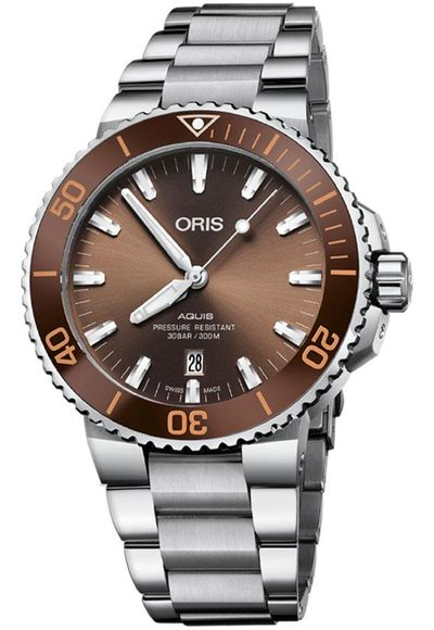 Oris Aquis Date Brown Dial Men's Watch 73377304152MB