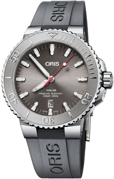 Oris Aquis Date Grey Rubber Strap Men's Watch 73377304153RS