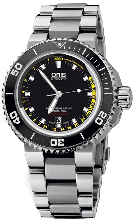 7d1010b0a 73376754154 Oris Aquis Divers Depth Gauge 46mm Ceramic & Steel Mens ...
